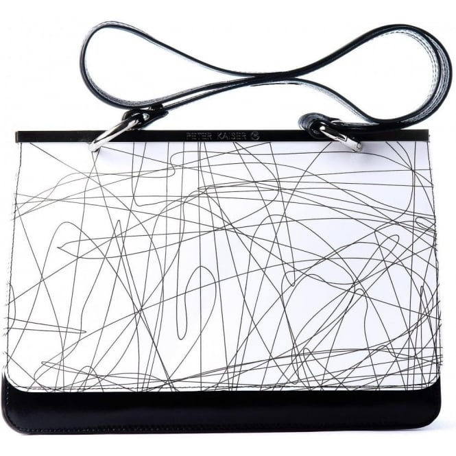 Peter Kaiser Birte | White patent and black leather shoulder bag :  140 monochrome black and white shoulder bag peter kaiser white riga