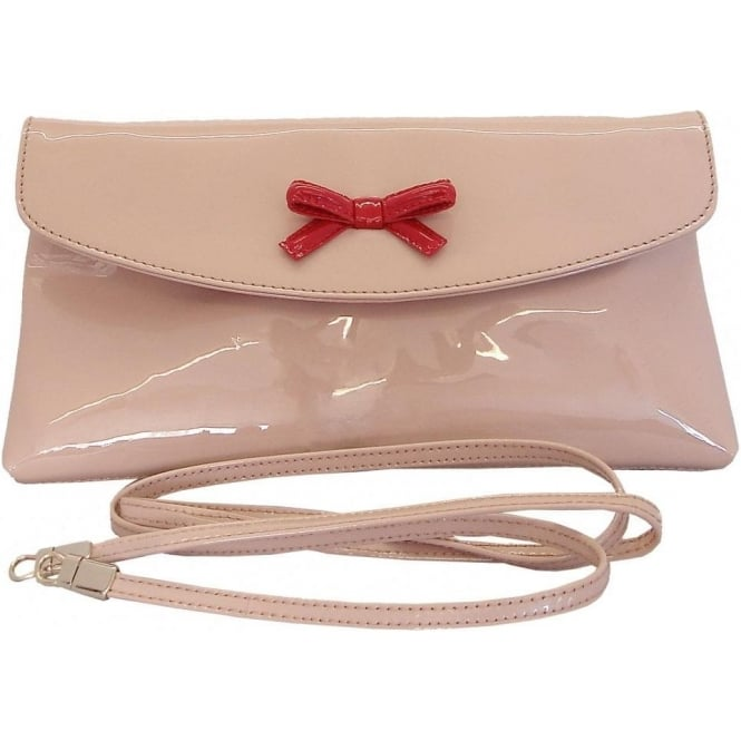Peter Kaiser Biba Classic sand patent leather clutch Shoulder strap from peterkaiser.co.uk