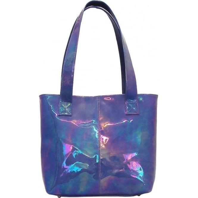 Peter Kaiser Brigitte | Royal Petrol iridescent patent tote handbag