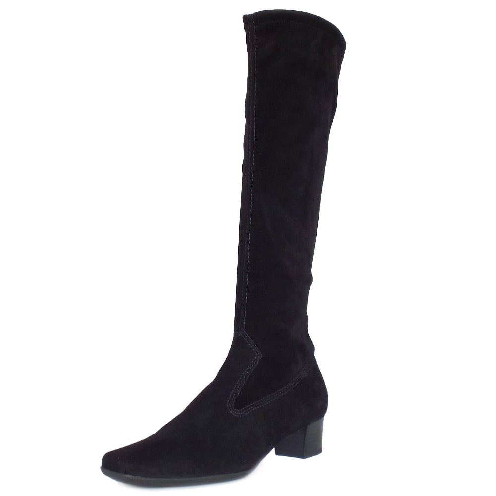 18bd6ef450e Aila Pull On Stretch Suede Knee High Boots in Black ...