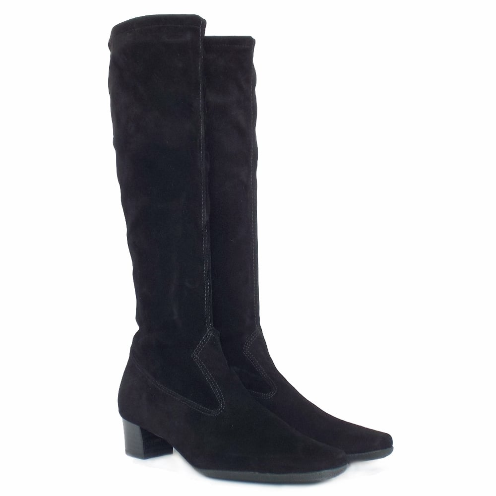 4824b7a3833 ... Aila Pull On Stretch Suede Knee High Boots in Black ...