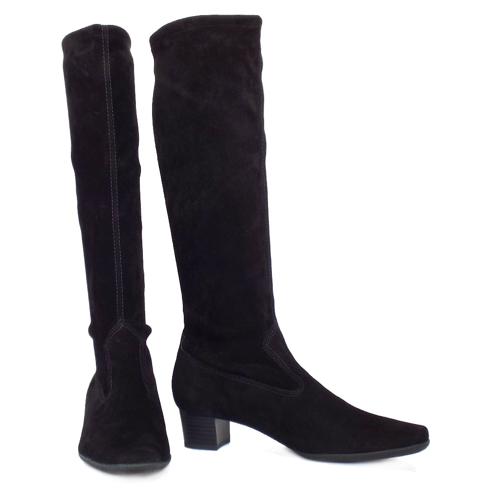 a9a7222fa36 ... Aila Pull On Stretch Suede Knee High Boots in Black. ‹
