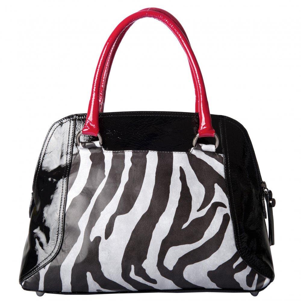 Peter Kaiser Amanda Designer Bag In Red And Black Patent Zebra Print