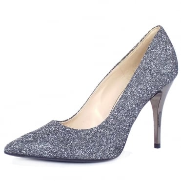Atena Stiletto Court Shoe in Carbon shimmer
