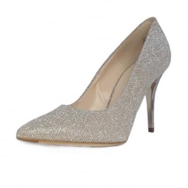 Atena Stiletto Court Shoe in Sand Shimmer
