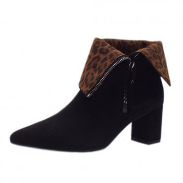 Baka Fashion Collar Ankle Boot in Black Suede
