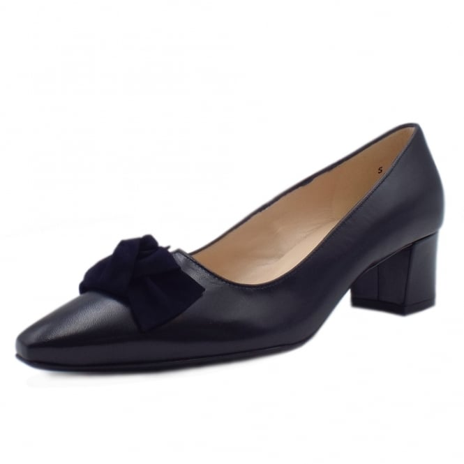 Binella Mid Heel Navy Leather Court Shoes With Suede Bow