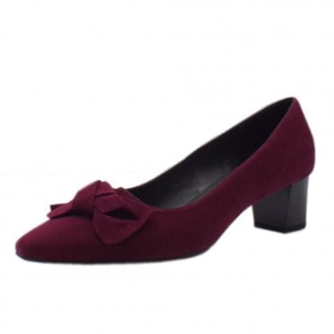 Blia Court Shoes With Block Heel Detail in Jam Suede