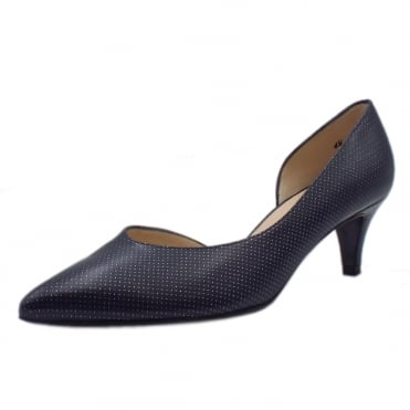 Caete Kitten Heel Pointy Toe Court Shoes in Notte Pin