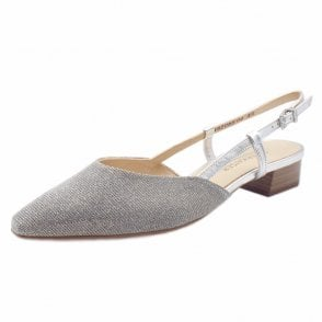 Calida Silver Shimmer Sling Back Sandals With Low Heel