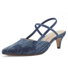 Calina Jeans Evening Sandals With Low Heel