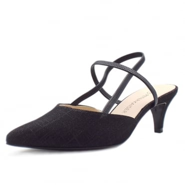 Calina Black Shimmer Sandals With Low Heel