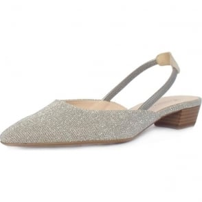 Castra Sand Shimmer Evening Sandals With Low Heel