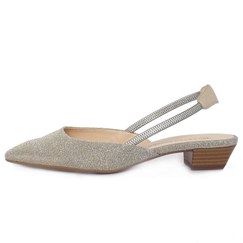 ... Castra Sand Shimmer Evening Sandals With Low Heel ...