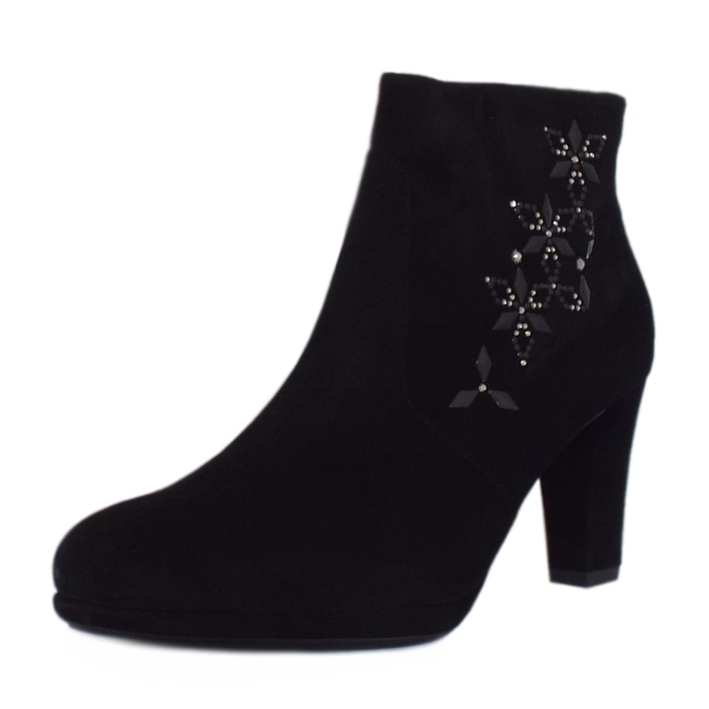 Peter Kaiser Cetin | Ladies Suede Ankle Boots in Black | Peter Kaiser