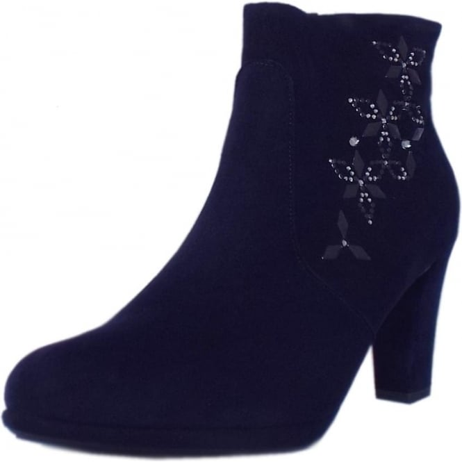 Cetin Ladies Heeled Ankle Boot in Notte Suede