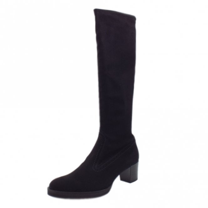 Charita Pull On Stretch Knee High Boots in Black Suede