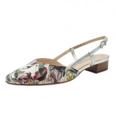 Claudia Multi Flower Leather Sling Back Sandals With Low Heel