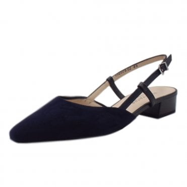 Claudia Notte Suede Sling Back Sandals With Low Heel