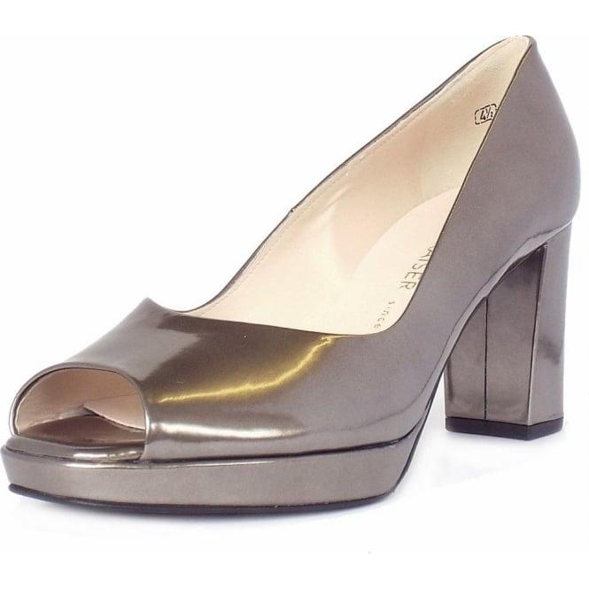 Pewter Metallic Peep Toe Block Heel Pumps