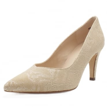 Elektra Dressy Pointy Toe Mid Heel Court Shoes in Sand Tiles