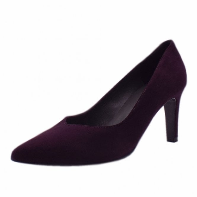 Elfi Classic Court Shoes in Wine Suede