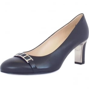 Frisa Navy Chevro Mid Heel Pumps with Metal Heel and Link Trim