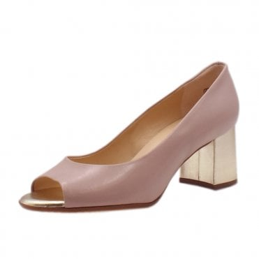 Frona Mauve Chevro Wide Fit Mid Heel Open Toe Pumps