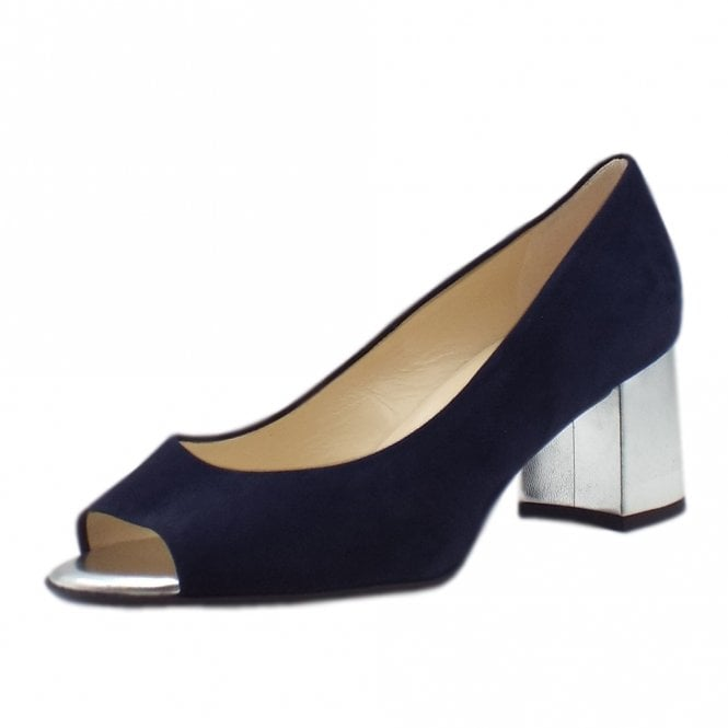 Frona Notte Suede Wide Fit Mid Heel Open Toe Pumps