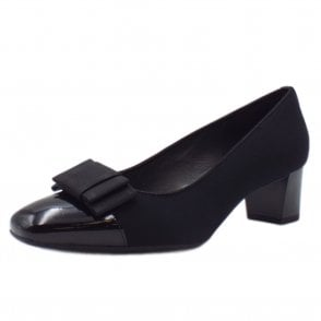 Gristina Low Heel Wide Fit Shoes in Black Patent