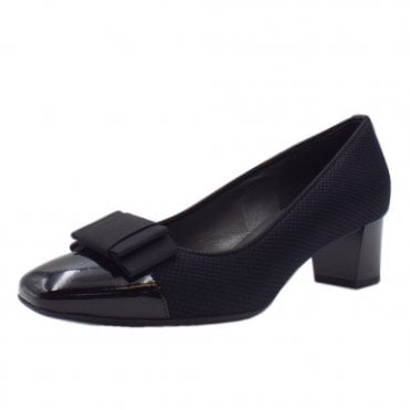 Gristina Plus Fit Black Rombo Low Heel Pumps with Bow