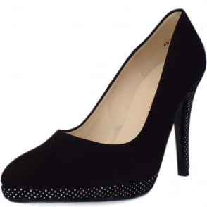 Hertha Black Suede and Polka Dot Evening Stiletto Pumps