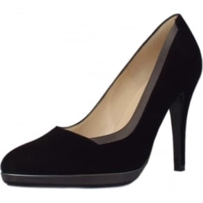 Hetlin Black Suede and Metal Trim Evening Stiletto Pumps