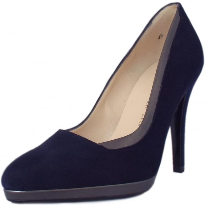 Hetlin High Heel Dressy Court Shoes in Navy Suede