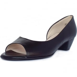 Itha Black Leather Low Heel Open Toe Pumps