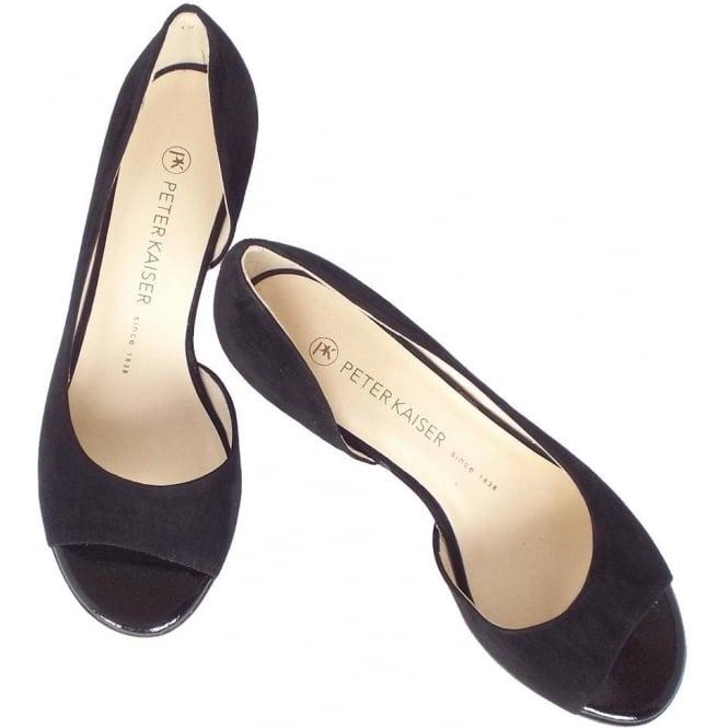 Black Suede Low Heel Open Toe Pumps