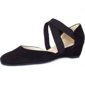 Jaila Black Suede Low Wedge Summer Pumps