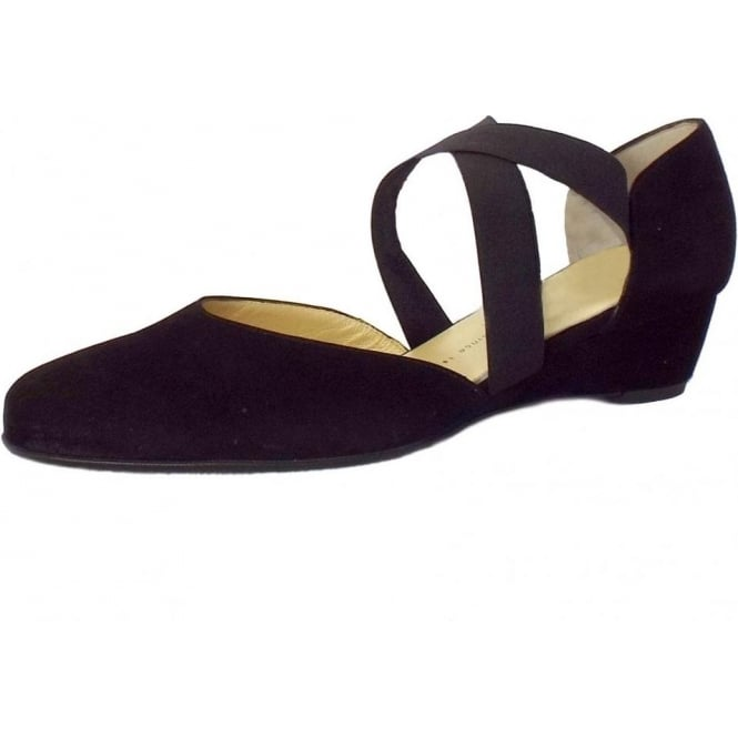 Jaila Low Wedge Shoes in Black Suede