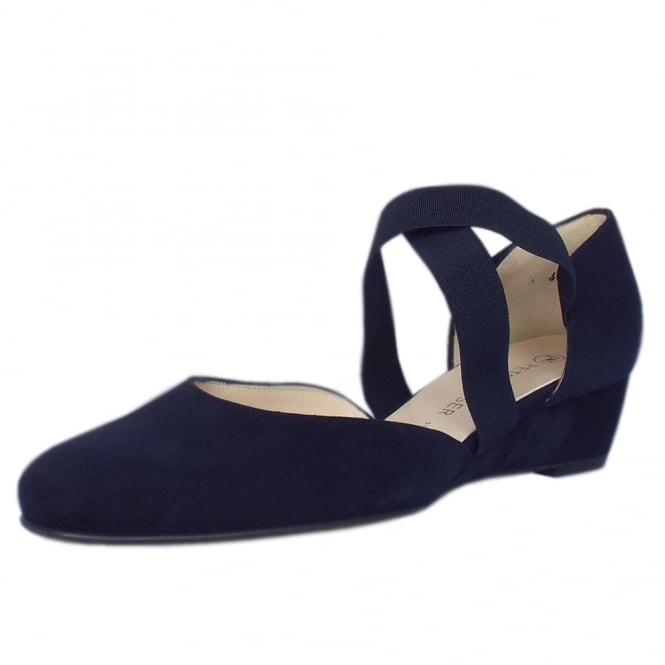 Jaila Low Wedge Shoes in Navy Suede