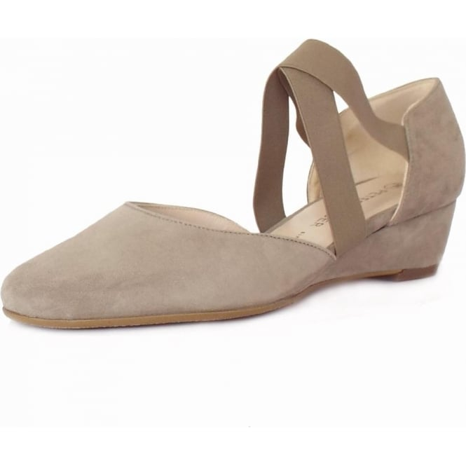 Jaila Taupe Suede Low Wedge Summer Pumps