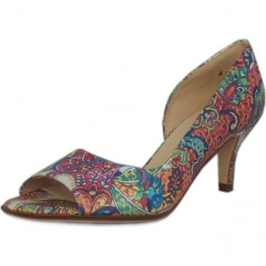 Jamala Multi Paisli Open Toe Mid Heel Pumps