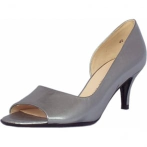 Jamala Steel Graffiti Silver Burshed Effect Leather Open Toe Pumps