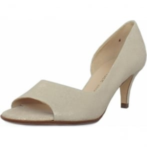 Jamala White Gold Open Toe Mid Heel Pumps