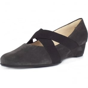 Jeska Carbon Suede Low Wedge Ballet Pumps With Elasticated Straps