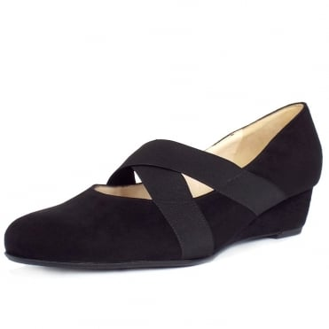 Jeska Low Wedge Ballet Pumps in Black Suede