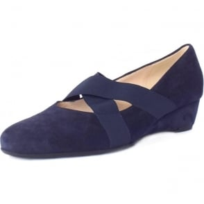 Jeska Notte Suede Low Wedge Ballet Pumps With Elasticated Straps