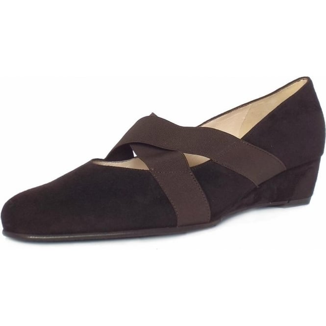 Jeska Nuba Brown Suede Low Wedge Ballet Pumps With Elasticated Straps