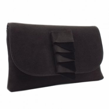 Karla Carbon Suede Clutch Bag