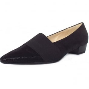 Lagos Black Lizard Suede Pointy Toe Low Heel Pumps