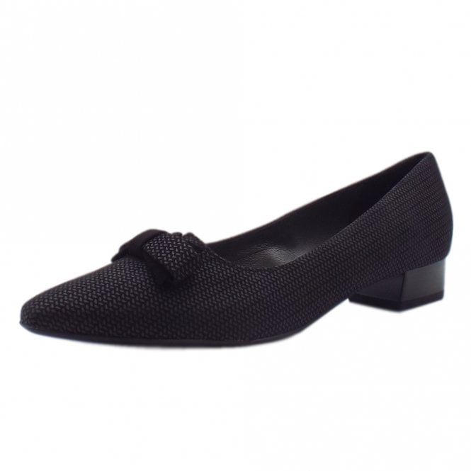 Leah Pointed Toe Low Heel Courts in Black Corn